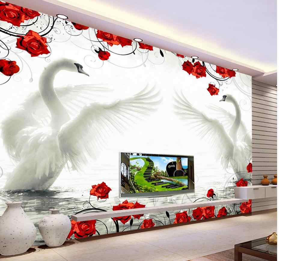 3d wallpaper for room living style wallpaper Swan red rose pattern background wall murals living 3d wallpaper