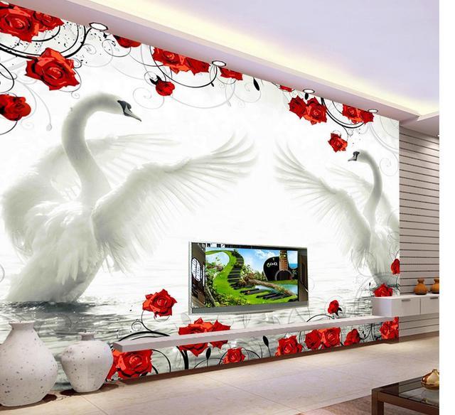 3d tapete fr wohnzimmer stil tapete swan rot rose muster hintergrund wandmalereien wohnzimmer 3d wallpaper - Tapete Rot Muster