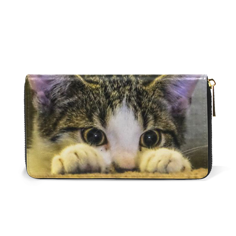 Leather Wallet Cute Cat Women Long Card Zipper Holder Large Female Genuine Leather Money Bag for Girls Coin Purse Gift for Boys