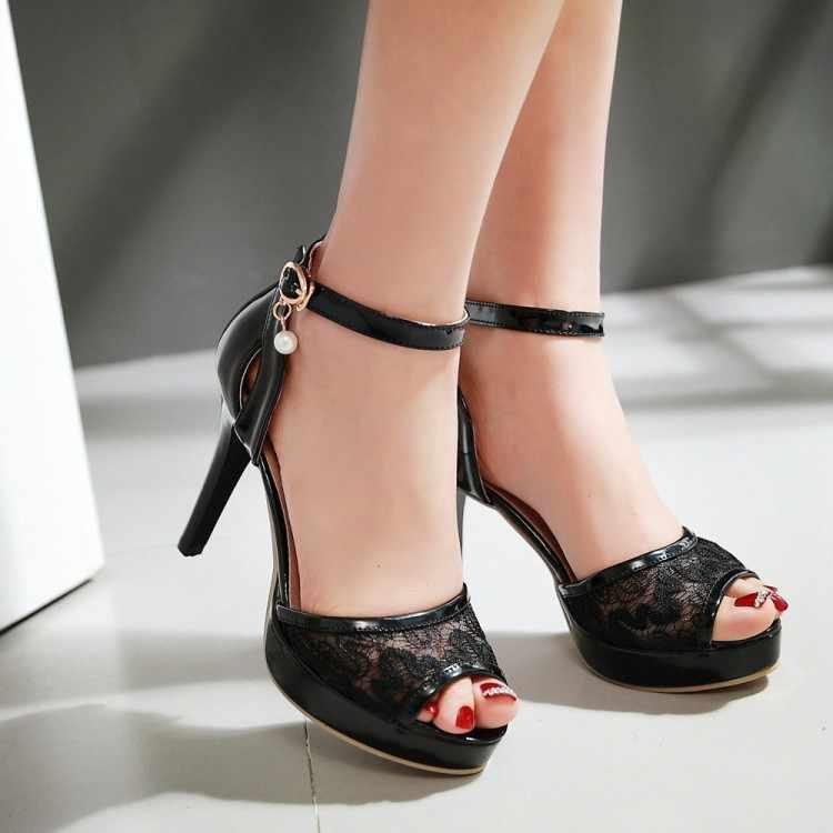 Große Größe 11 12 13 14 15 high heels sandalen frauen schuhe frau sommer ladies open-toed schnallen Net garn Die fische mund sandalen