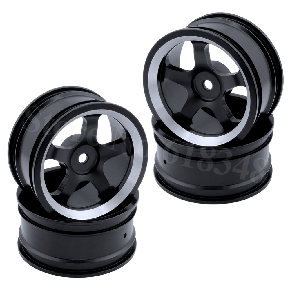 4pcs Aluminum Alloy Wheel Rims For RC 1:10 Drift On-Road Racing Car Touring Upgrade Parts HSP Redcat HPI Himoto mxfans 4 pcs aluminum alloy wheel felloe rc 1 10 on road rimmer black wheel rims