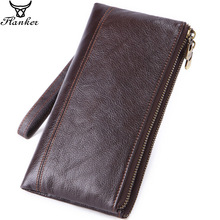 Flanker genuine leather men organizer wallets with cell phone pocket business clutch wallet card holder zipper travel long purse