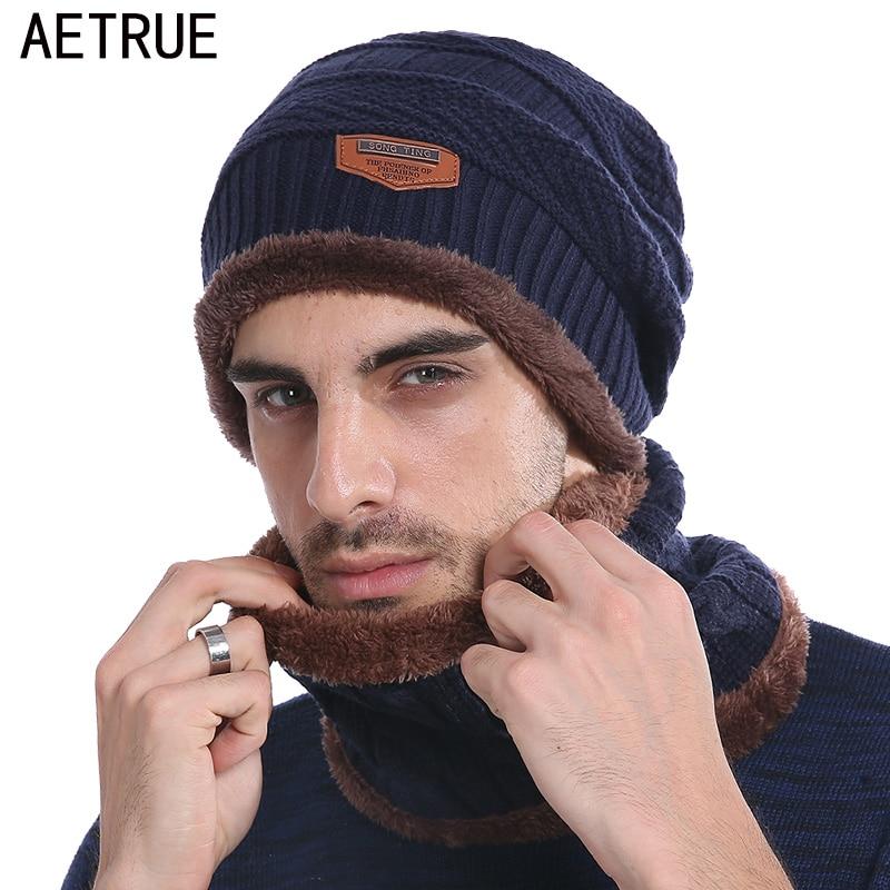 AETRUE Winter Beanie Knitted Hat Scarf Skullies Beanies Men Winter Hats For Men Women Caps Gorras Bonnet Mask Brand Hats 2018