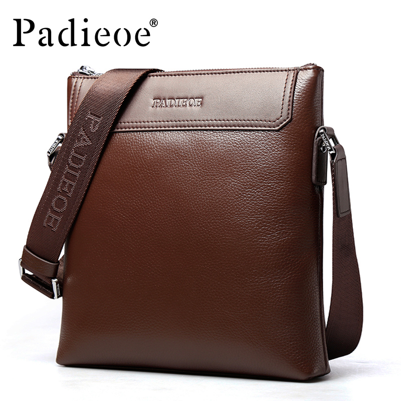 Padieoe 2017 Fashion Genuine Leather Bag Small Casual Men Messenger Bags Male Crossbody Shoulder Bag