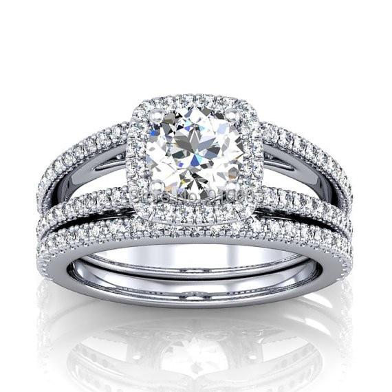 Brilliant Simulated Diamond Center 2 Carat Halo 9k White Gold Wedding Set Ring With Split Shank