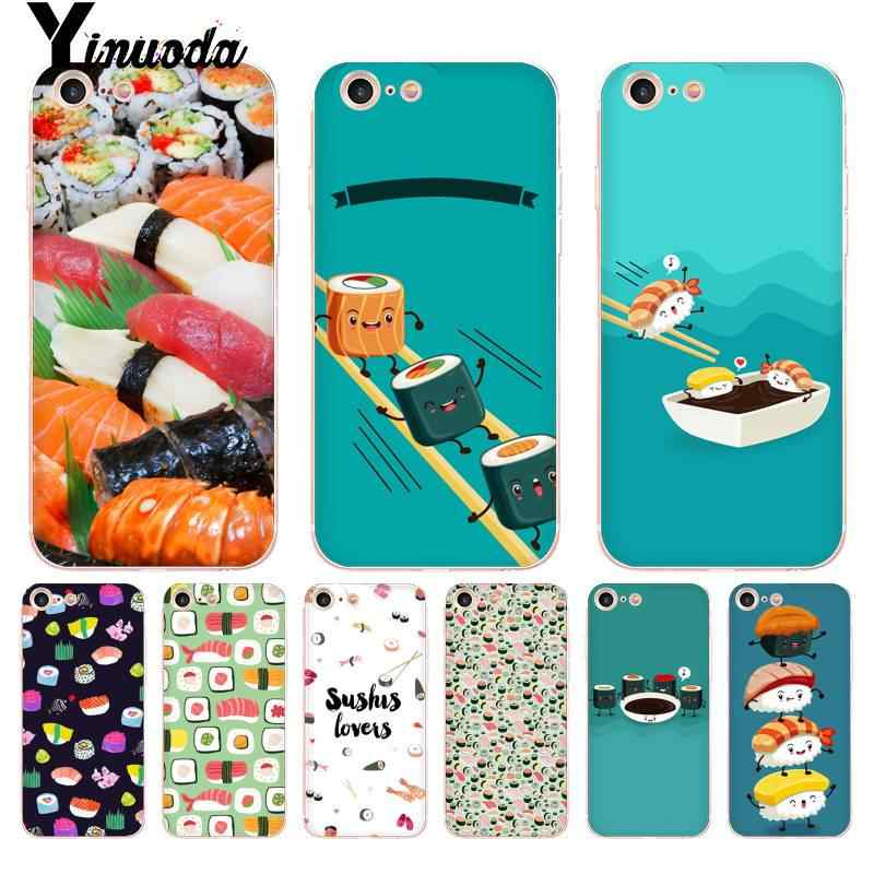 Yinuoda Japanese sushi delicious food cartoon Transparent Phone Cover Case for iPhone 8 7 6 6S Plus X 10 5 5S SE XR XS XSMAX