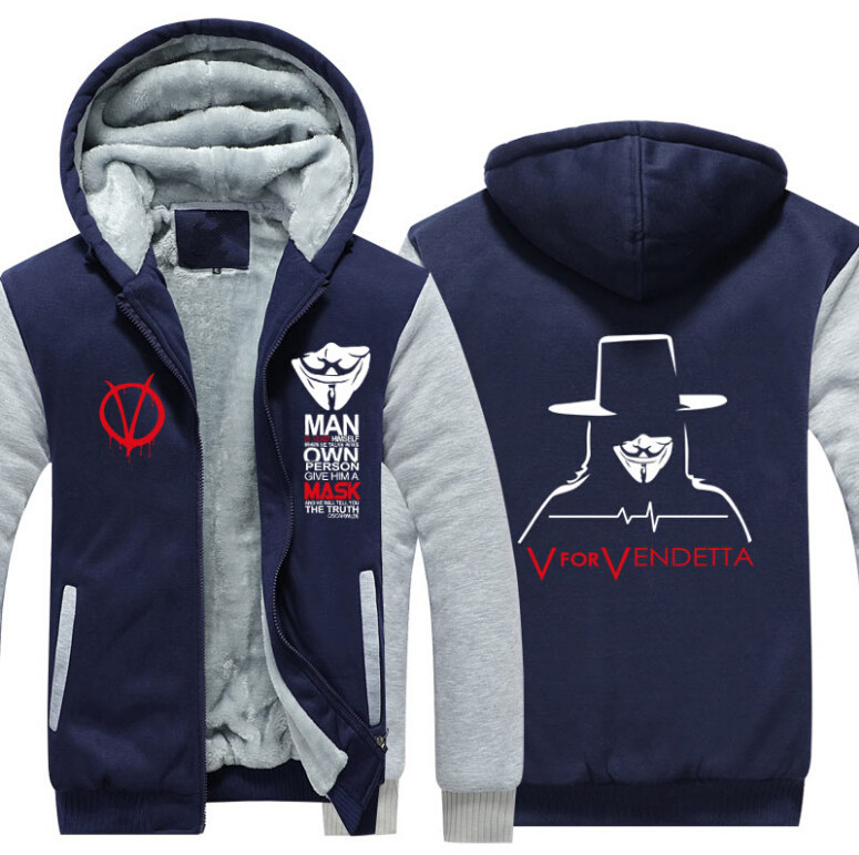 Let Go Store V for Vendetta Unisex Adult Thicken Hoodie Zipper Coat Jacket Sweatshirts USA SIZE Jackets Men