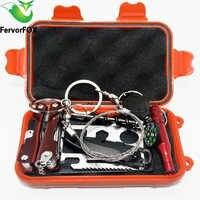Al aire libre al equipo de emergencia kit SOS caja de primeros auxilios suministros Campo de auto-ayuda caja para Camping viaje equipo de supervivencia Kits de herramienta