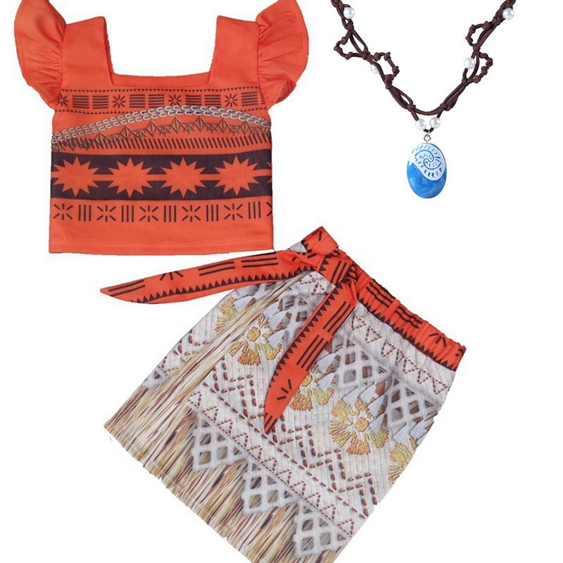 Kids Princess Moana Cosplay Costume Girls Gifts Halloween Birthday Party Dress Set Girl Vaiana Dress Necklace Cosplay Costume(China)