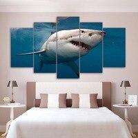 HD de Impressão Modernas de Pintura 5 Painel de arte de Decoração Para Casa Cartazes grande Tubarão Branco Modular Imagem Quadro De Parede Sala de estar Em sapatas de lona