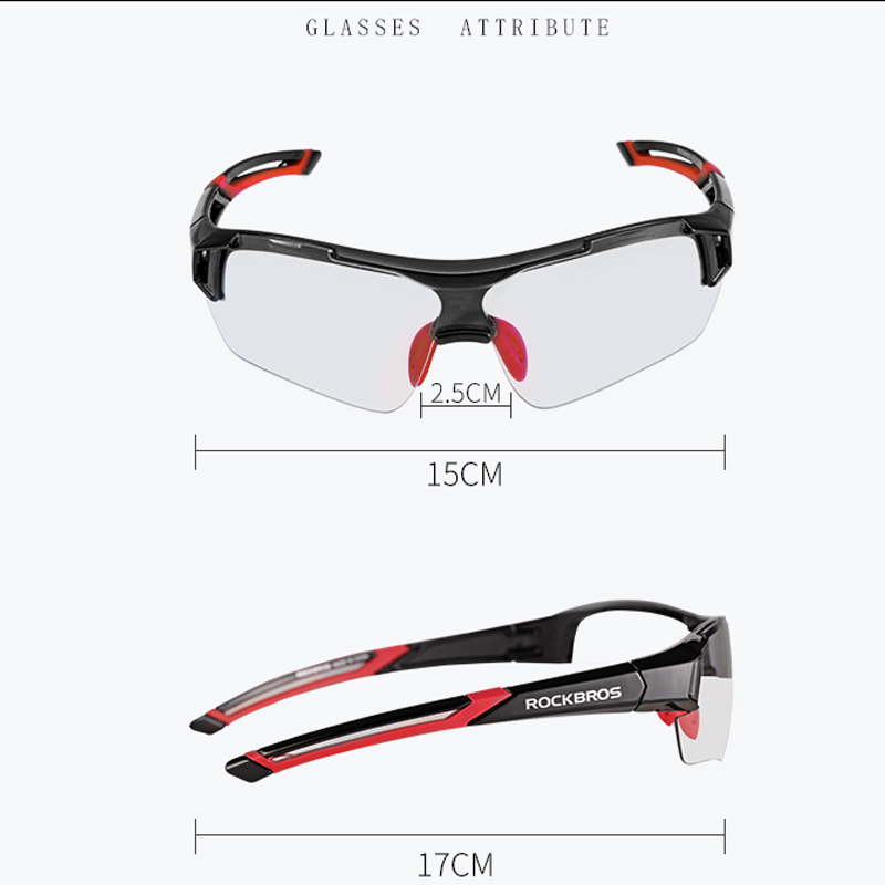 RockBros Cycling Photochromatic Glasses Outdoor Sports Sunglasses Goggles Red