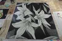 Wall Murals Glass Mosaic Mural White Lily Flower Unique for Home Walls Hand Made