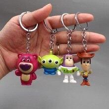 4 unids lote juguete historia de fresa oso Woody Buzz Lightyear lindo Alien  figura de acción muñecas llavero colgante decoración. 0e9f7fc6b1a