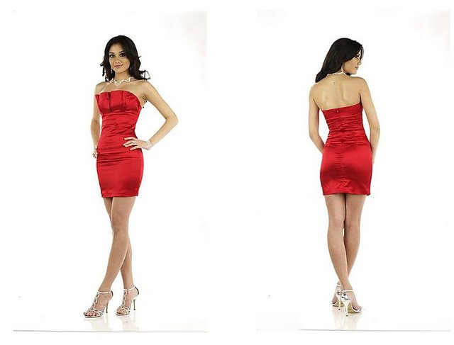 Freeshipping Hot Sale Sexy Sheath Sleeveless Red Satin Cocktail Party Dresses