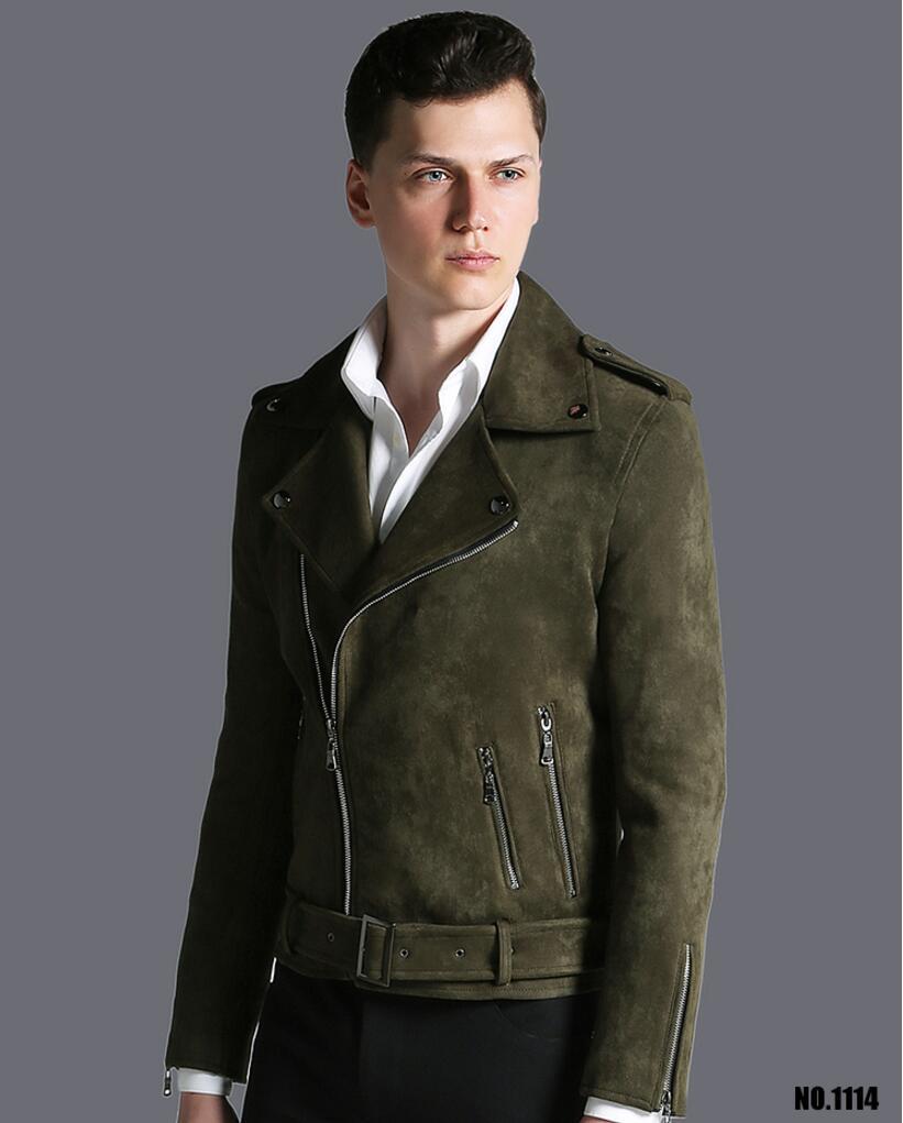 Короткая мужская куртка осень зима, новая модная армейская зеленая замшевая Повседневная куртка с отворотом, мужская верхняя одежда! S 3XL - 4