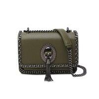 Newest Vintage Style Tassel Designer Handbag Discount Price Metal Chain Edge Small Bag Metal Lock Dark