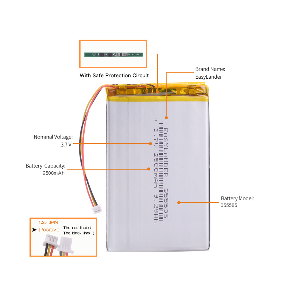small resolution of aliexpress com buy 3 wire 315586 3 7v 2500mah li polymer rechargeable battery for s11nd018a e book onyx bba10 355585 power bank psp dvr 305585 from