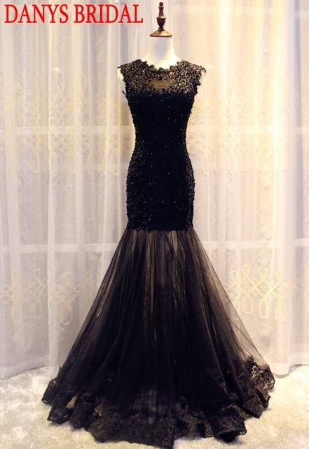 Galajurken Feestjurken.Black Long Lace Mermaid Prom Dresses Beaded Evening Party Dresses