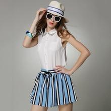Europe casual sleeveless cotton linen sleeveless blouse tops two piece skirt sets vertical stripes women sets