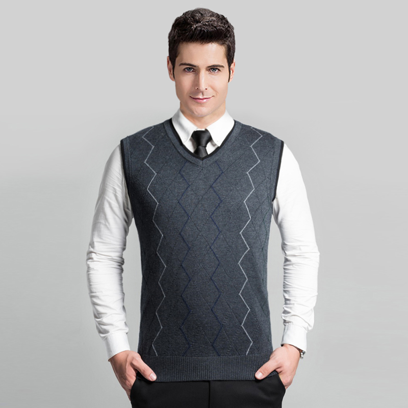 High Quality Autumn Winter Causal Striped Mens V- Neck Sleeveless Cable Sweater Vest