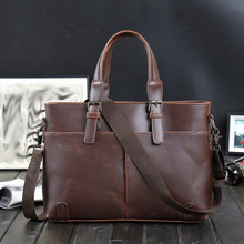 Fashion Simple Famous Brand Business Men Leather Briefcase Bag Leather Laptop Bag Casual Man Bag Shoulder bags цена в Москве и Питере