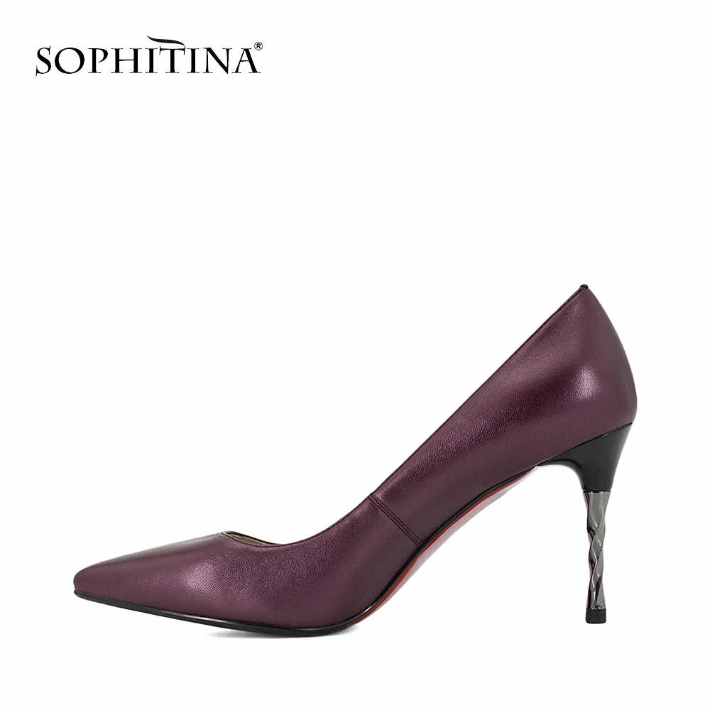 SOPHITINA ยี่ห้อของแท้หนังปั๊มเซ็กซี่จุด Toe Super High เกลียวส้นรองเท้าใหม่อาชีพ Elegant ปั๊ม W18