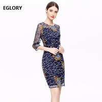 2018 Autumn Fashion Party Cocktail Lady Dresses Sexy Tulle Mesh Patchwork Three Quarter Sleeve Slim Fitted Dress Vestido Festa