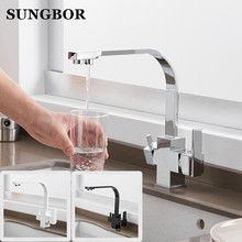 купить Black Square Kitchen Faucets 360 Degree Rotation 3 Way Water Filter Tap Water Faucets Solid Brass Kitchen Sink Tap Water Mixer дешево