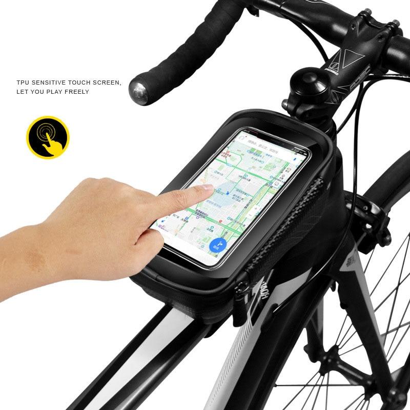 Achort Bike Phone Front Frame Bag Bicycle Bike Top Tube Bike Bag Waterproof Storage Bike Bags Mountain BikHandlebar Bag Holder Cycling with Touch Screen Headphone Jack Phone Mount Below 6.0