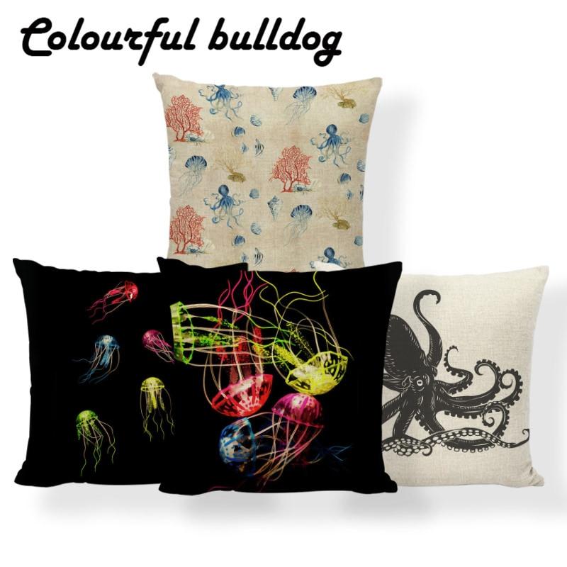 cheap pillow cases jellyfish ocean beach nautical cushion cover US SELLER