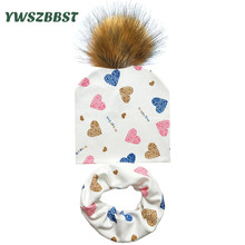 879a7908874 Baby Hat Infant Caps Cotton Scarf Baby Beanies Love Heart Print Spring  Autumn Children Hat Scarf