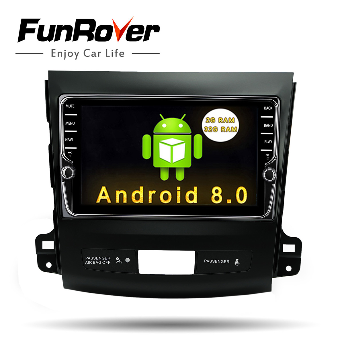 Funrover IPS 8 Android 8.0 Car GPS navi tape recorder for Mitsubishi Outlander 2006-2014 Peugeot 4007 Citroen C-Crosser BT wifi