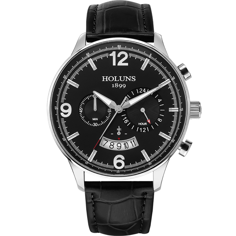 HOLUNS Men's Leather Strap Watch 24 Hour Quartz Watches Casual Wristwatch Male Waterproof Luxury Round Glass Dial Gift holuns watch women sapphire glass white dial quartz waterproof multicolor red leather strap watch