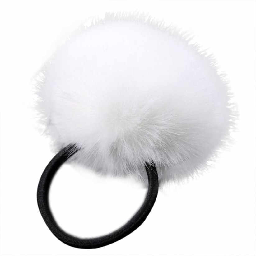 1PX Rabbit Fur Hair Band Elastic Hair Bobble Pony Tail Holder