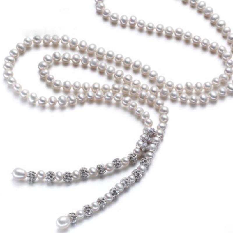 RUNZHUQIYUAN 2017 100% naturel perle d'eau douce à long collier 90 cm longueur perle bijoux pour femmes pour les filles meilleurs cadeaux de mariage