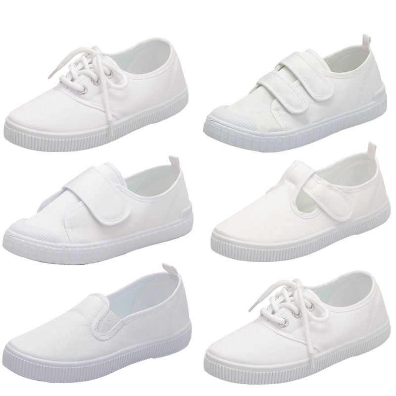 8e101fc5c Девочки Мальчики Дети школьные белые кроссовки парусиновая обувь для девочек  Мальчики Dymnastics Повседневная танцевальная обувь 26