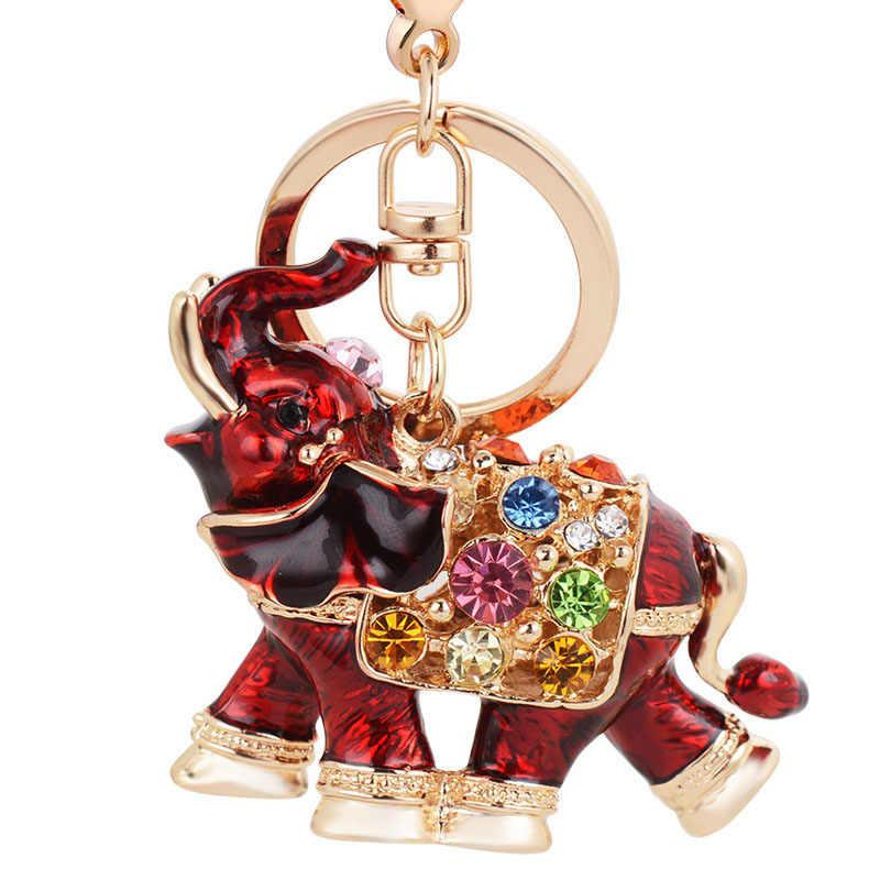 Re bonito 3d elefante cristal chaveiro nos sacos feminino saco encantos chaveiro do carro colorido strass trinket chaveiros j2325