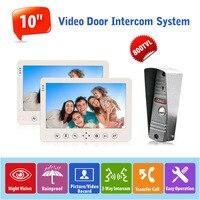 10 Inch Indoor Color Monitor Video Door Phone Doorbell Intercom System Support 32G SD Card And
