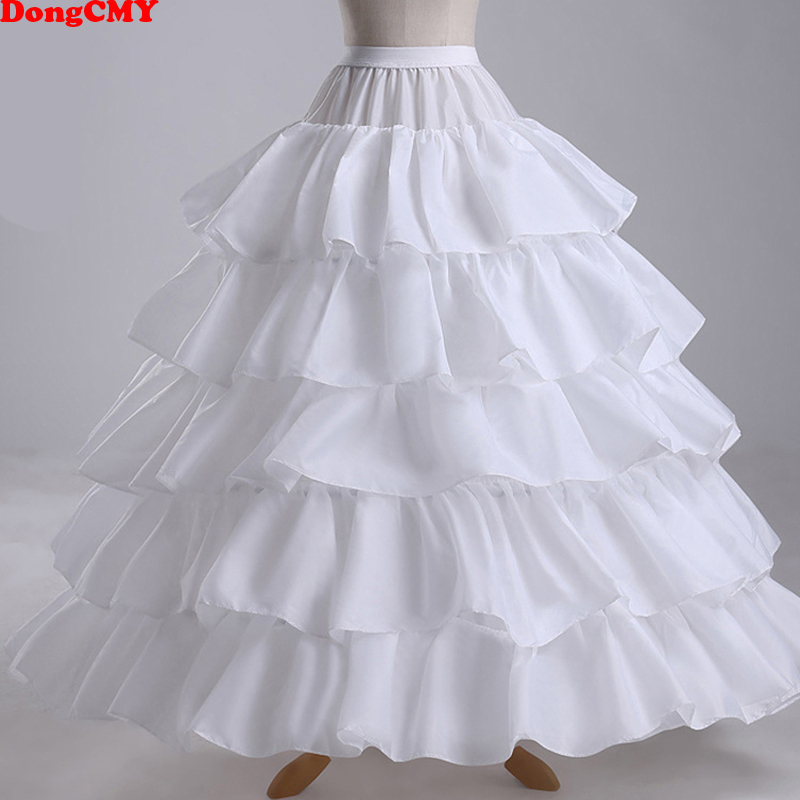 Cheap Long 4 Hoops Petticoat Underskirt For Ball Gown Wedding Dress Mariage Underwear Crinoline Wedding Accessories