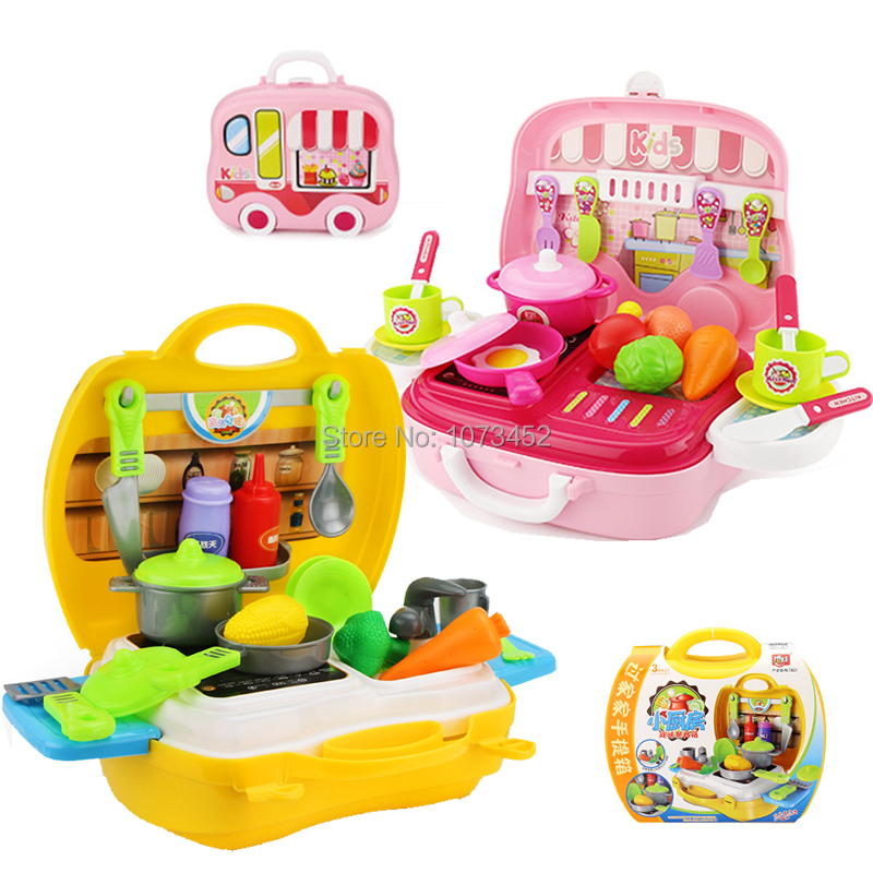 26pcs/set Kids kitchen cooking play set portable cabinet design pakage play house toy pretend play set toy gift for children