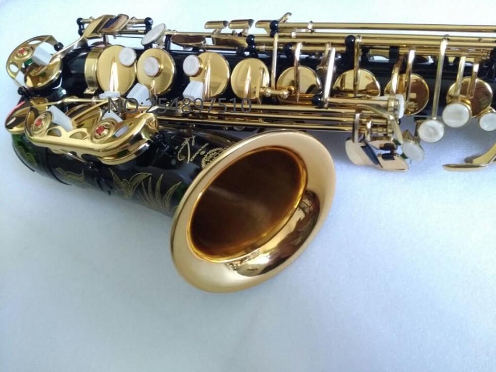 Offre Spéciale saxophone noir Alto laiton gravure SELMER SAS-R54 mode noir or Sax instruments de musique professionnel saxophone - 5