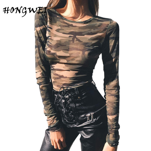 3cca88447d618 HONGWEIAutumn Camouflage T Shirts Women Long-sleeved Hot Sale Thin Sexy Army  Prints Top Female High Elastic Tees Shirts 2017 New