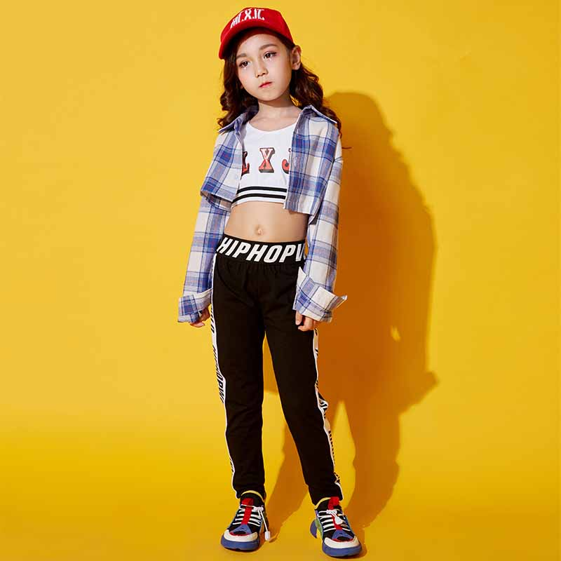 Fashion Children Jazz Dance Costumes Hip Hop Dance Costumes Kids Girls Street Dance Performance Party Clothes Sets DQS1181