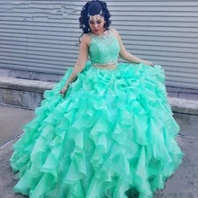 Two Pieces Mint Green Quinceanera Dresses 2017 Sweet 16 Year Ruffles Tiered Lace Beaded Long Prom Dress Cheap Debutante Gowns
