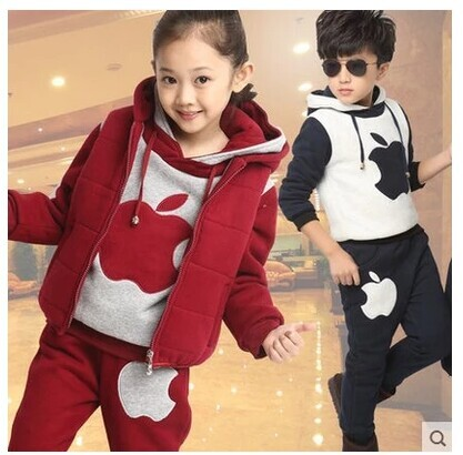 Male female treasure treasure fleece winter suit girl children three-piece wool thickening свитшот puma свитшот