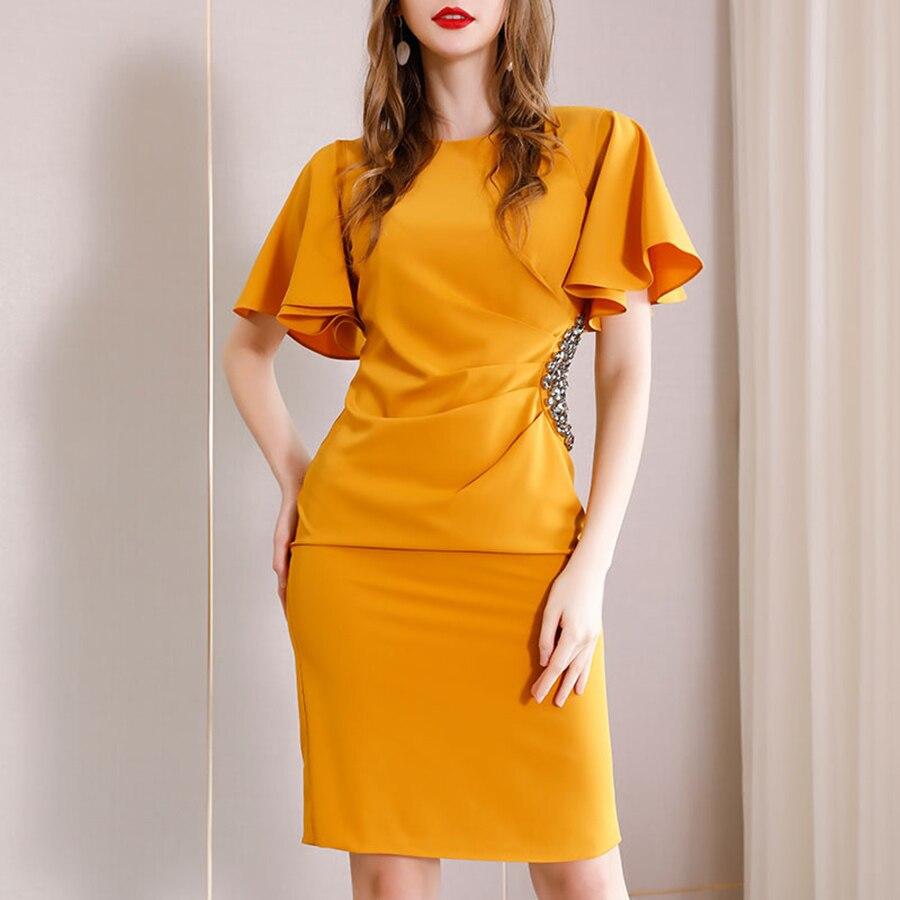 Luxury Yellow Dress Women 2019 High Qulity Fashion Black Sheath Office Dress Flare Sleeve Crystal Slim Working Bodycon Dress