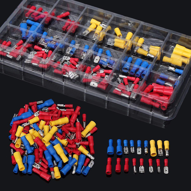 120pcs/lot New Insulated Electrical Crimp Connector Wire Terminals Assorted Kit 22-10AWG Red Blue Yellow For Cars Accessories 300pcs assorted insulated electrical wire terminals crimp connector spade set red yellow blue