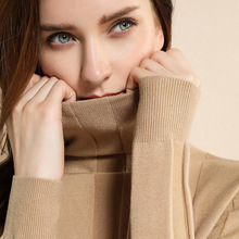 New Arrival 100% pure Cashmere women wide striped Basic Knitted Turtleneck Sweater Female Solid Collar Pullovers Warm