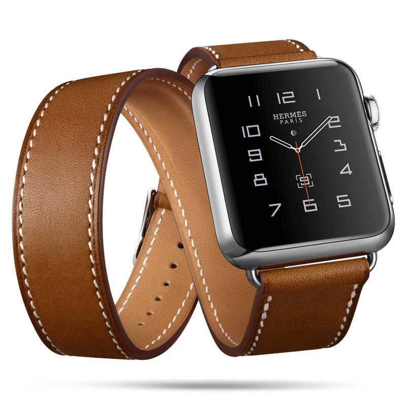 ארוך במיוחד אמיתי רצועת עור כפול סיור צמיד עור רצועת רצועת השעון עבור אפל שעון Series4 3 2 1 38mm ספורט 42mm אישה