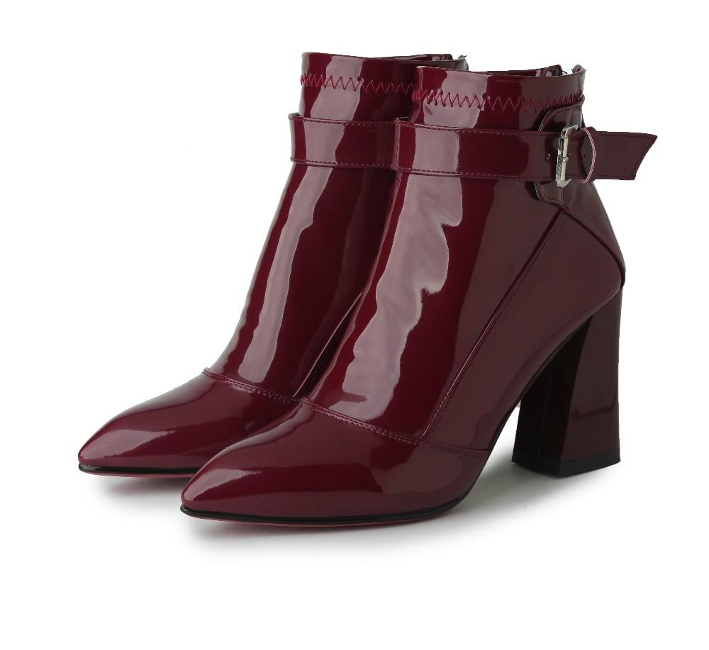 4 Carrés Rouge 59861 Noir 12 Chaussures Cheville Taille Élégant 59862 Femme Us Talons Bout Vin Pointu Belle Sexy Femmes Bottes PaUBq8zq